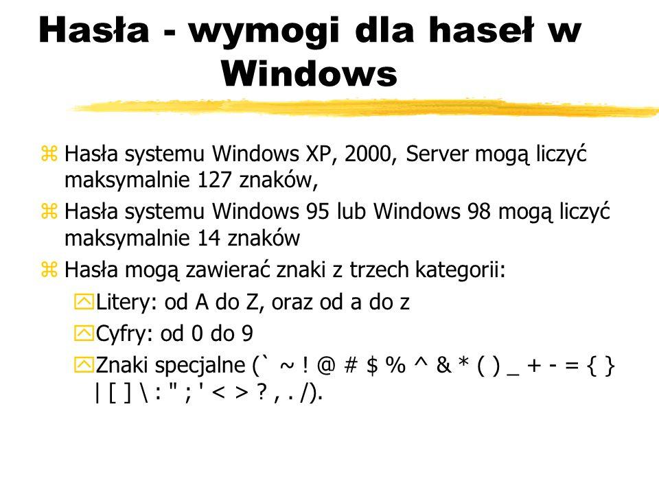 Hasła - wymogi dla haseł w Windows