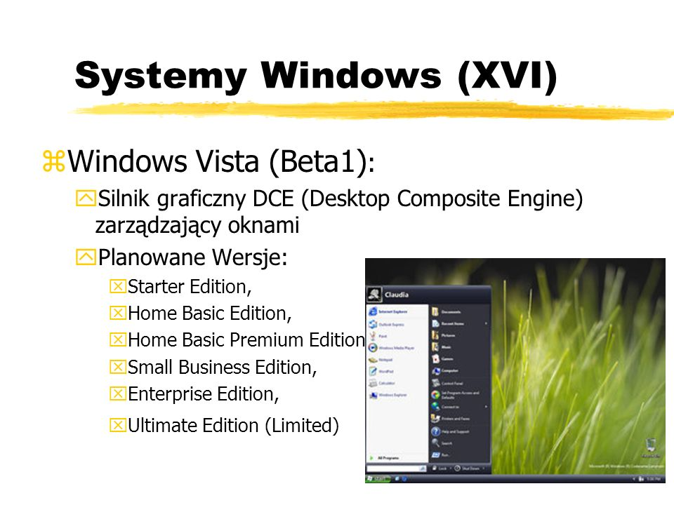 Systemy Windows (XVI) Windows Vista (Beta1):