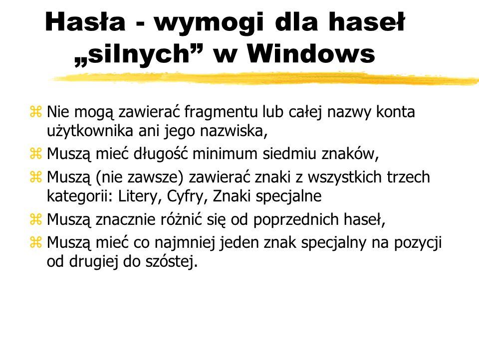 """Hasła - wymogi dla haseł """"silnych w Windows"""