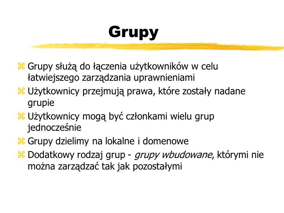GrupyGrupy służą do łączenia użytkowników w celu łatwiejszego zarządzania uprawnieniami. Użytkownicy przejmują prawa, które zostały nadane grupie.