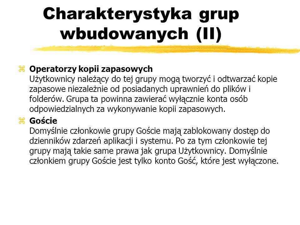 Charakterystyka grup wbudowanych (II)