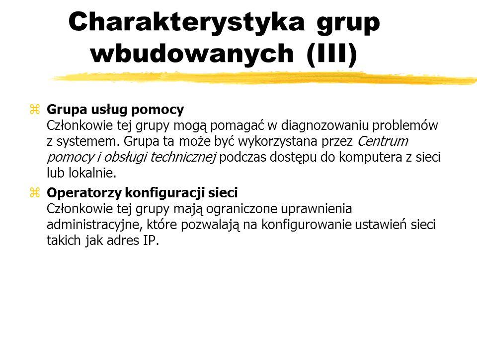 Charakterystyka grup wbudowanych (III)