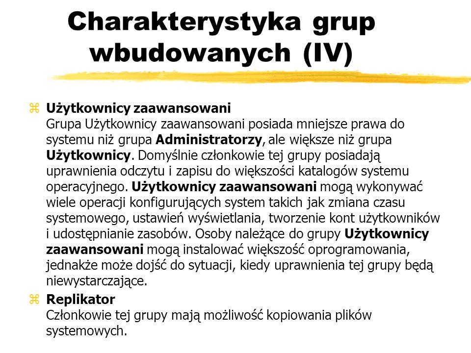 Charakterystyka grup wbudowanych (IV)