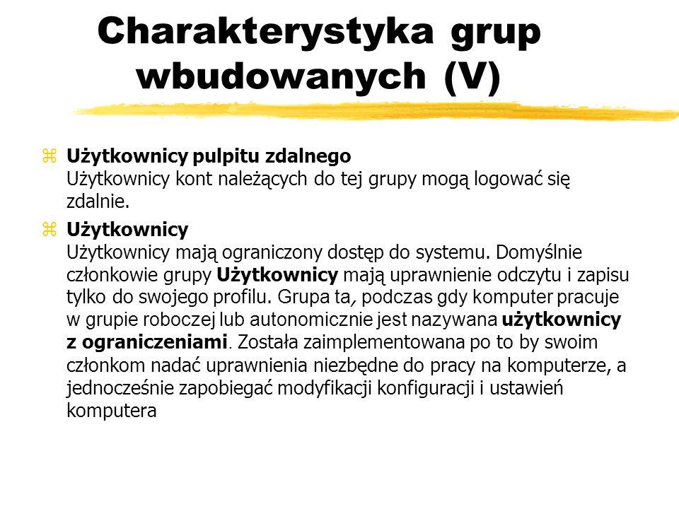 Charakterystyka grup wbudowanych (V)