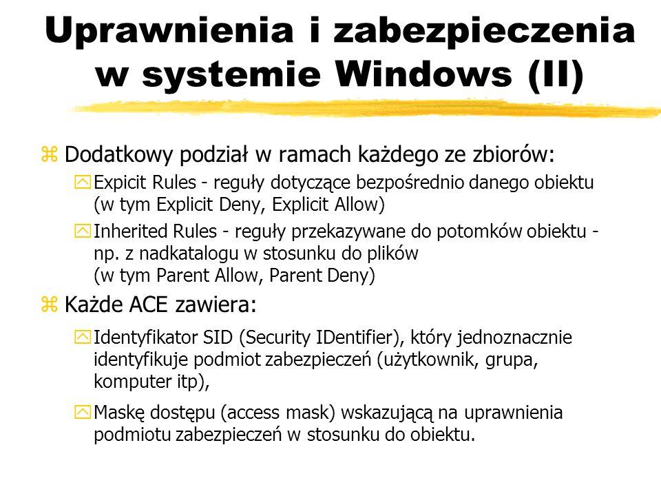 Uprawnienia i zabezpieczenia w systemie Windows (II)