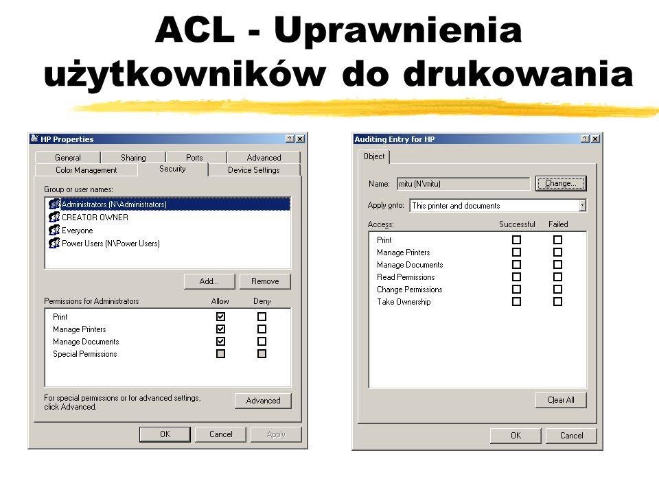 ACL - Uprawnienia użytkowników do drukowania