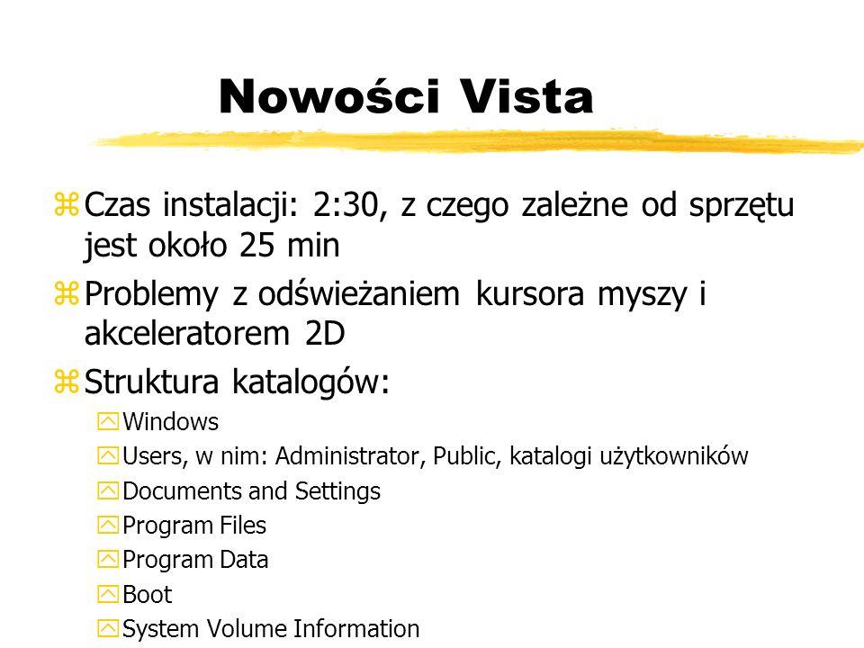 Nowości Vista Czas instalacji: 2:30, z czego zależne od sprzętu jest około 25 min. Problemy z odświeżaniem kursora myszy i akceleratorem 2D.