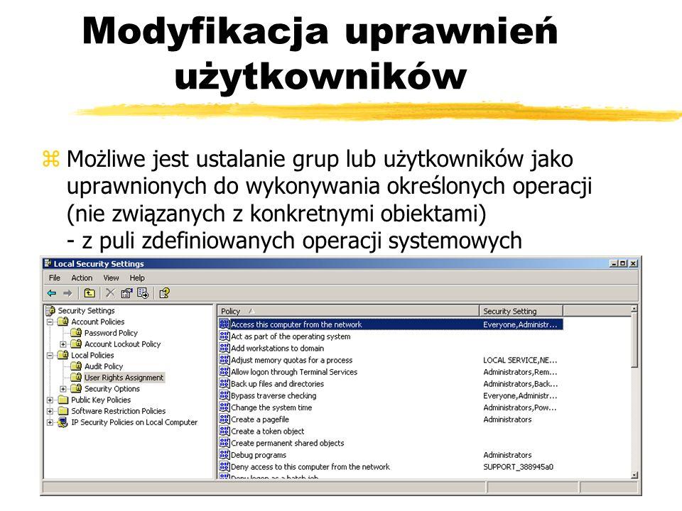 Modyfikacja uprawnień użytkowników
