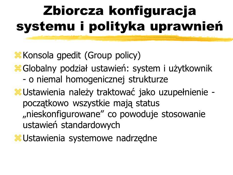 Zbiorcza konfiguracja systemu i polityka uprawnień