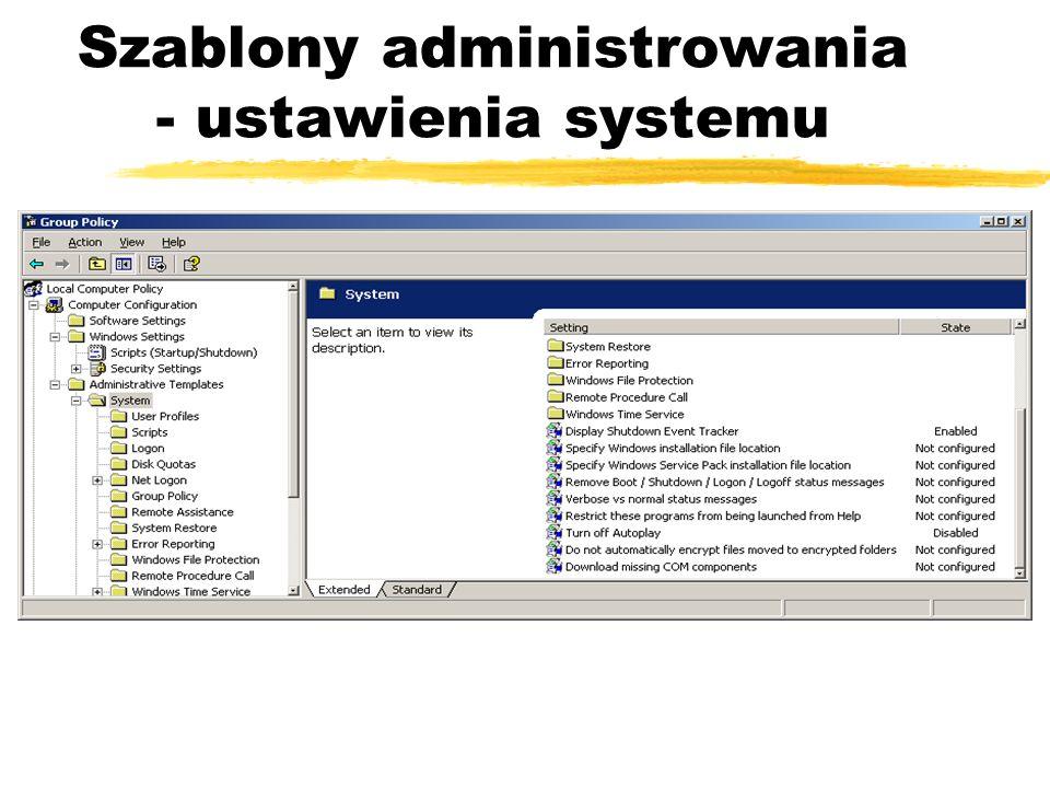 Szablony administrowania - ustawienia systemu
