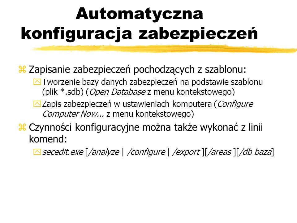 Automatyczna konfiguracja zabezpieczeń