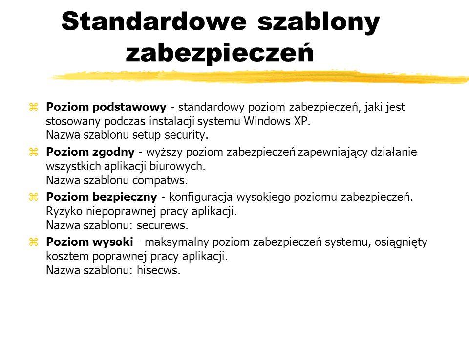 Standardowe szablony zabezpieczeń