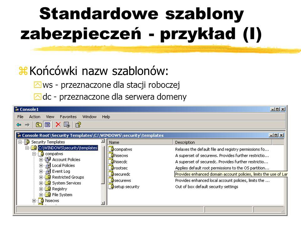Standardowe szablony zabezpieczeń - przykład (I)