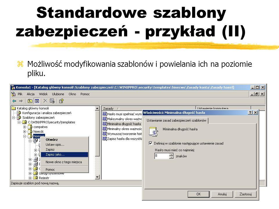 Standardowe szablony zabezpieczeń - przykład (II)