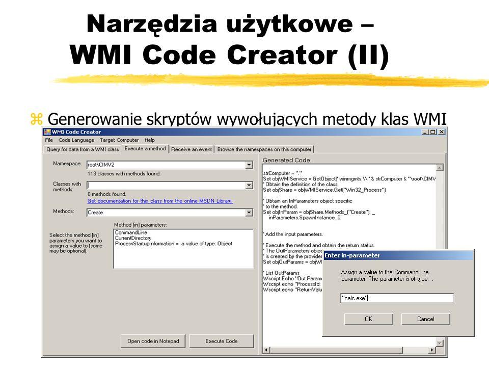 Narzędzia użytkowe – WMI Code Creator (II)