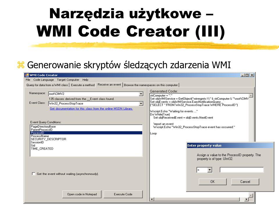 Narzędzia użytkowe – WMI Code Creator (III)
