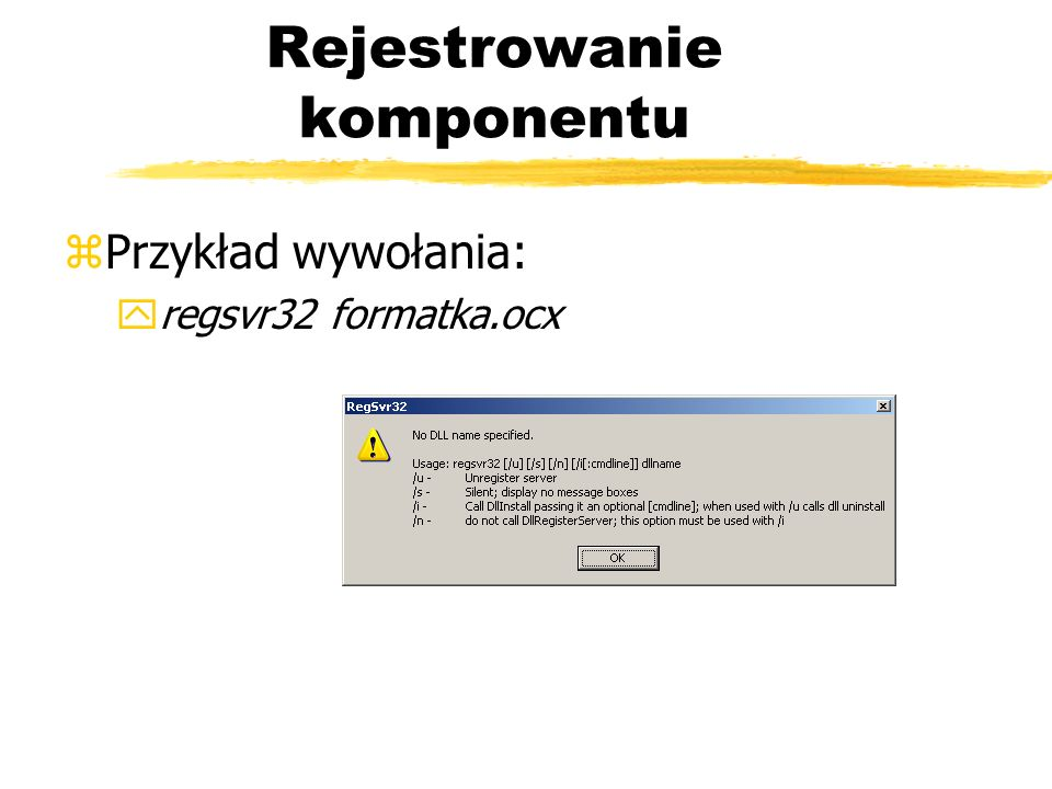 Rejestrowanie komponentu