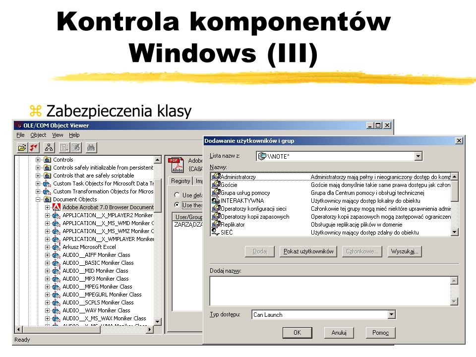 Kontrola komponentów Windows (III)