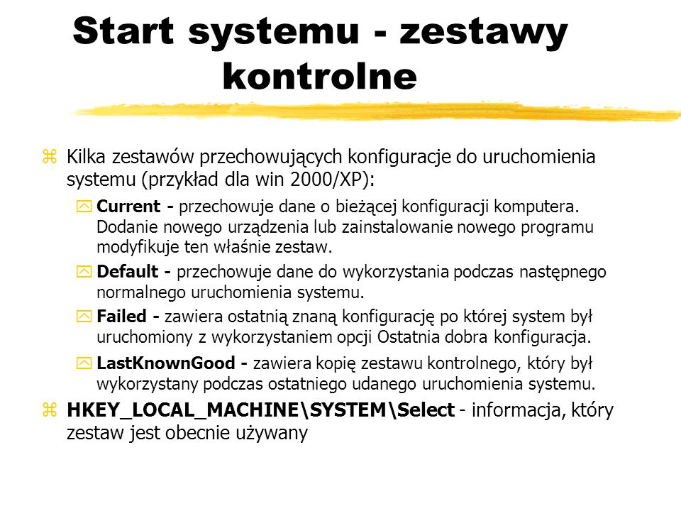 Start systemu - zestawy kontrolne