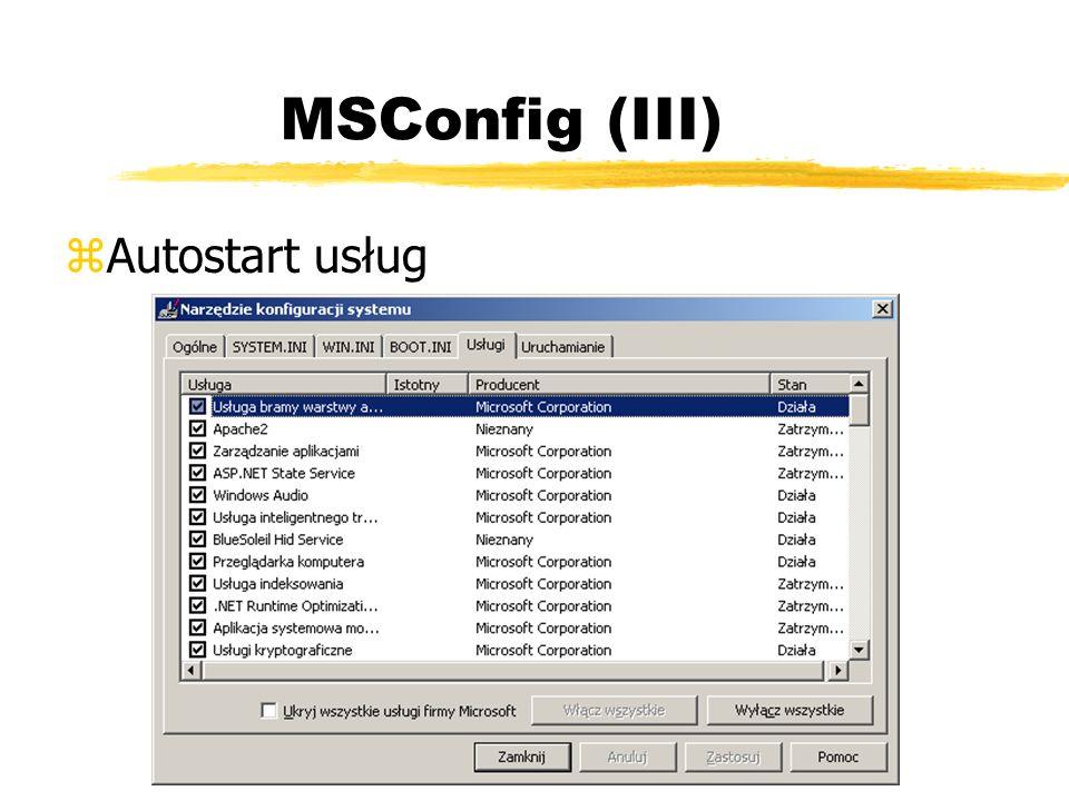 MSConfig (III) Autostart usług