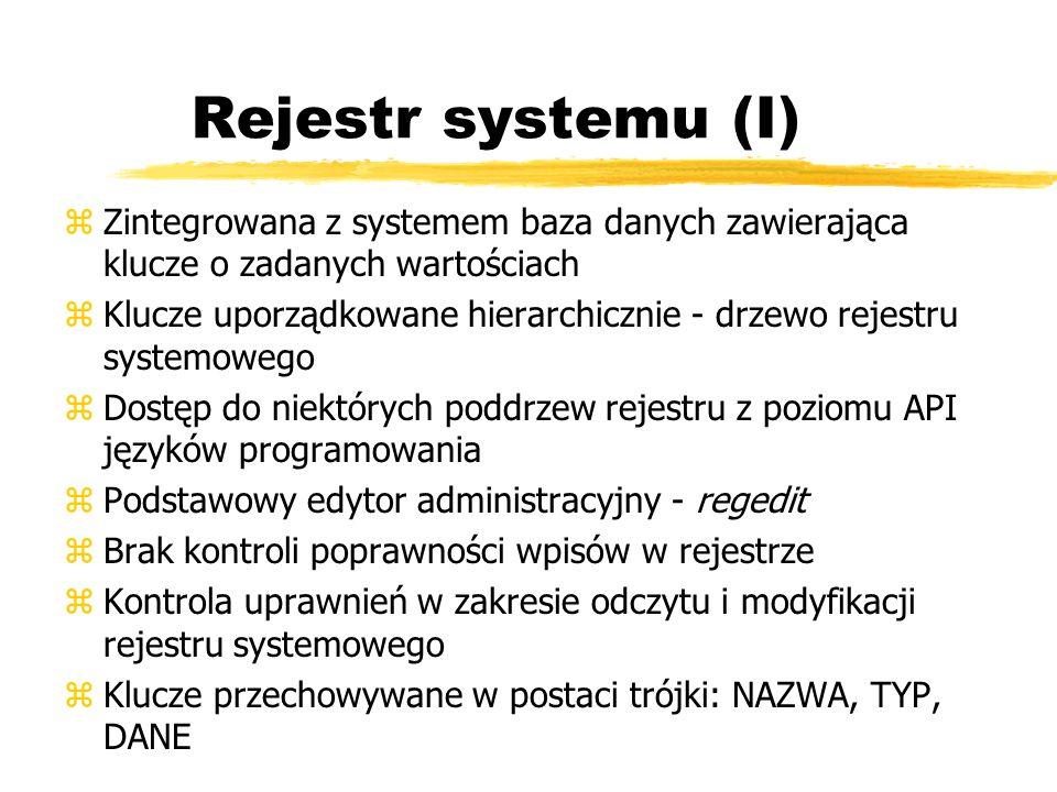 Rejestr systemu (I) Zintegrowana z systemem baza danych zawierająca klucze o zadanych wartościach.