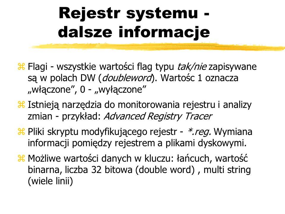 Rejestr systemu - dalsze informacje