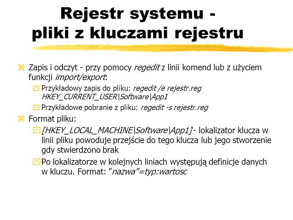 Rejestr systemu - pliki z kluczami rejestru