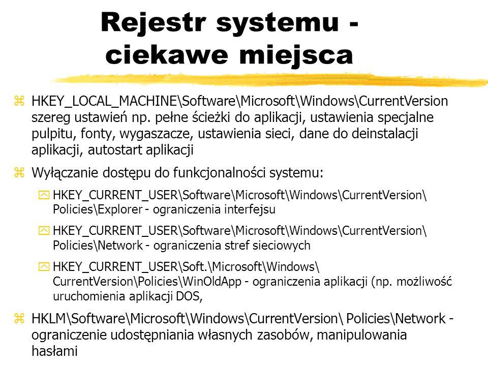 Rejestr systemu - ciekawe miejsca
