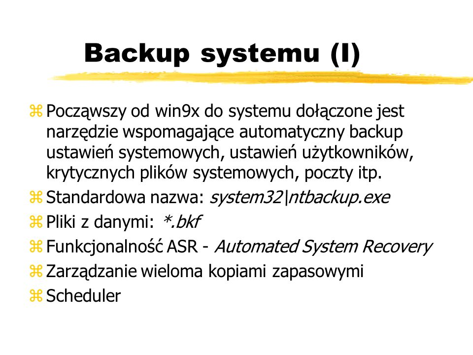 Backup systemu (I)