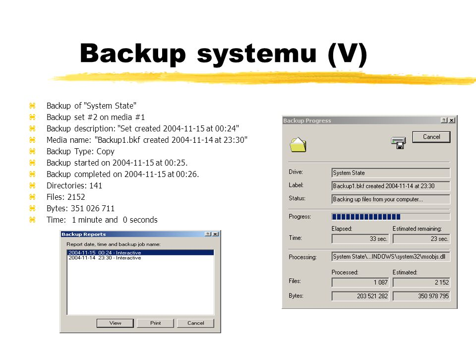Backup systemu (V) Backup of System State Backup set #2 on media #1