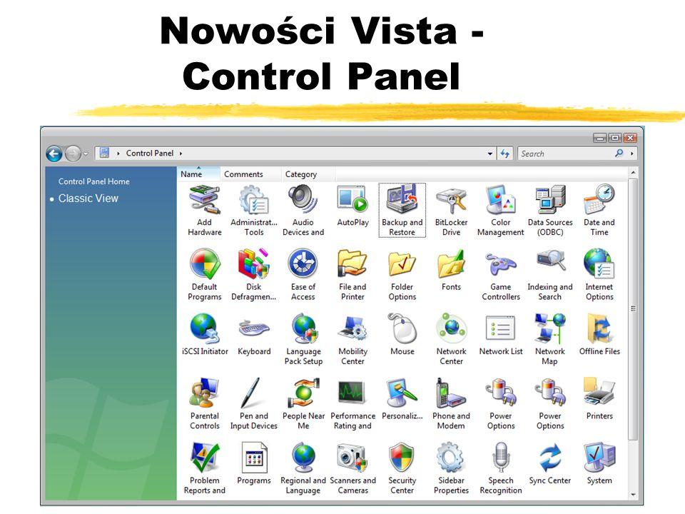Nowości Vista - Control Panel