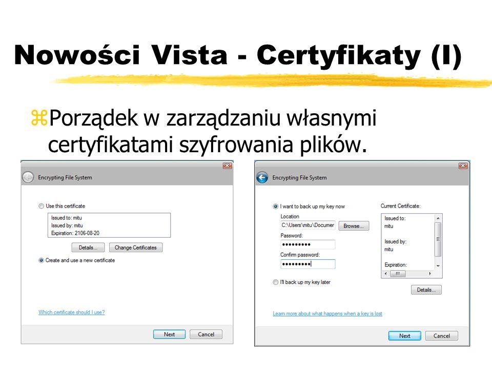 Nowości Vista - Certyfikaty (I)