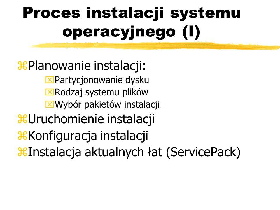Proces instalacji systemu operacyjnego (I)