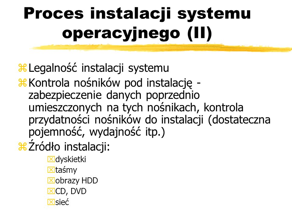 Proces instalacji systemu operacyjnego (II)