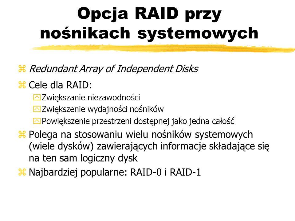 Opcja RAID przy nośnikach systemowych