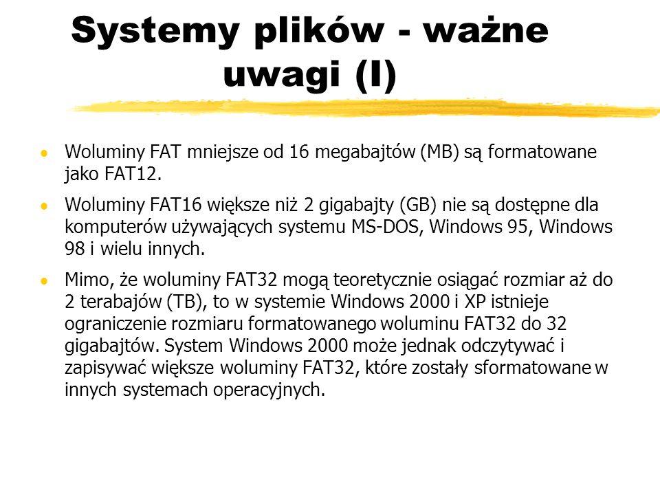 Systemy plików - ważne uwagi (I)