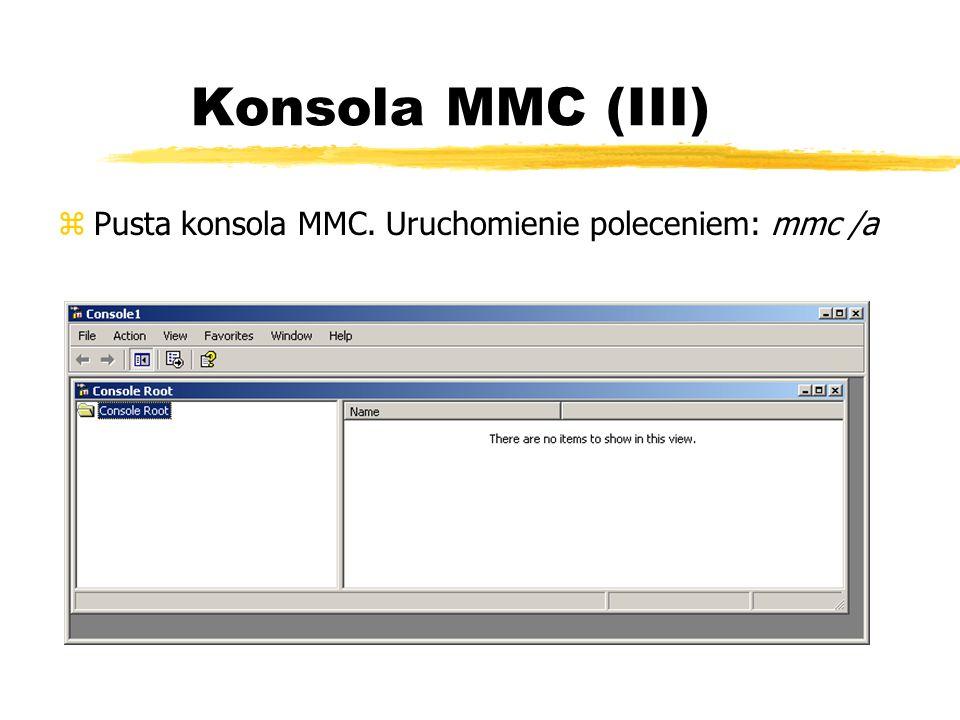 Konsola MMC (III) Pusta konsola MMC. Uruchomienie poleceniem: mmc /a