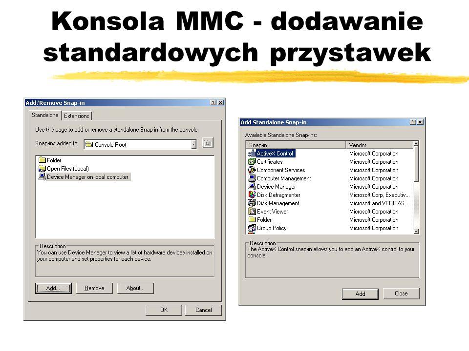 Konsola MMC - dodawanie standardowych przystawek