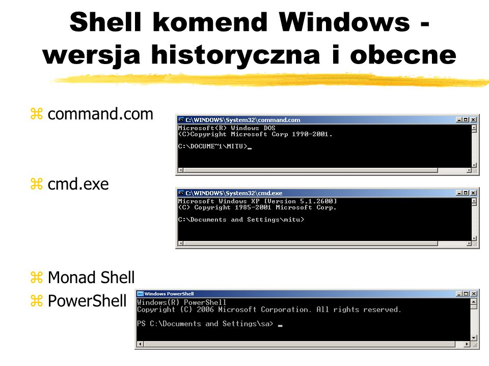 Shell komend Windows - wersja historyczna i obecne