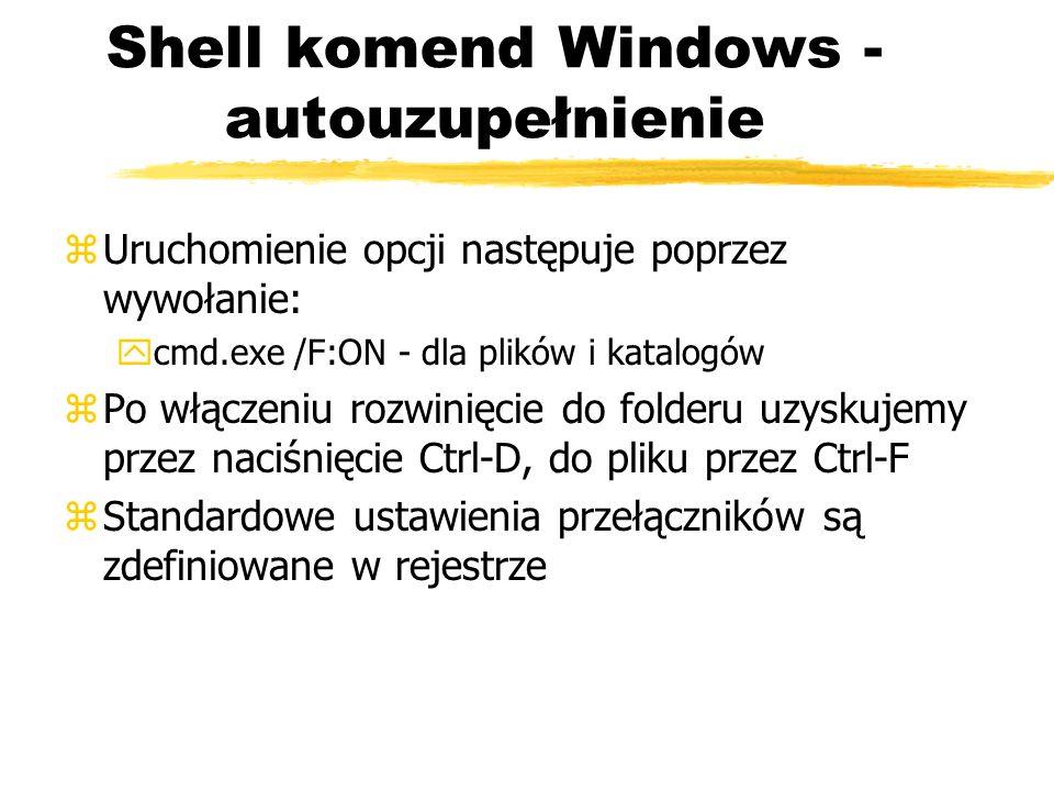 Shell komend Windows - autouzupełnienie
