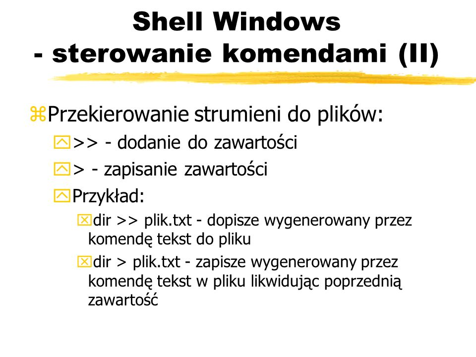 Shell Windows - sterowanie komendami (II)