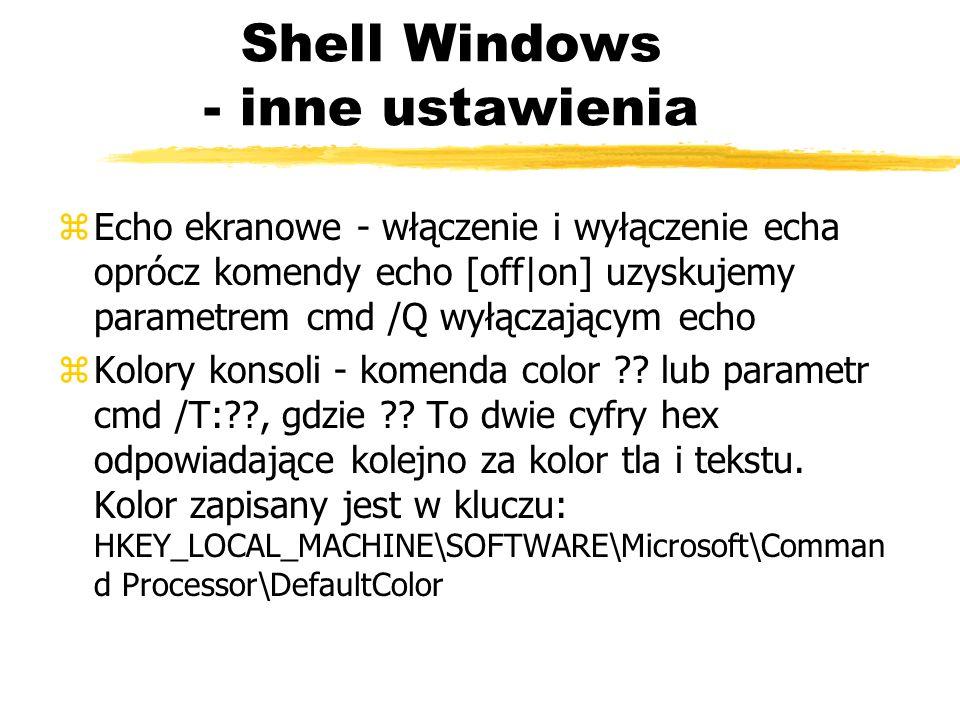 Shell Windows - inne ustawienia