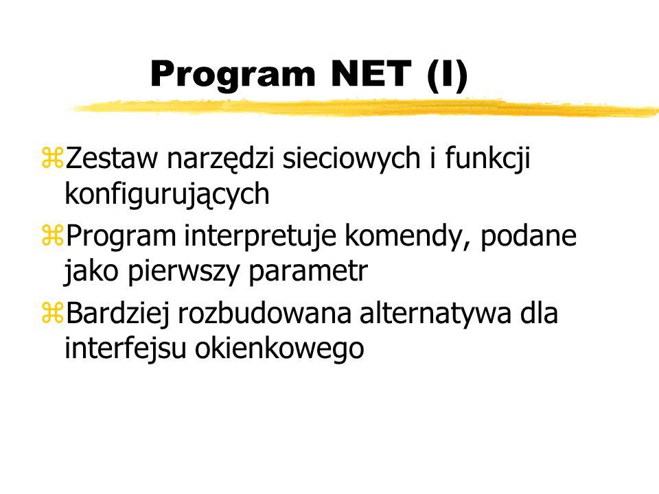 Program NET (I) Zestaw narzędzi sieciowych i funkcji konfigurujących