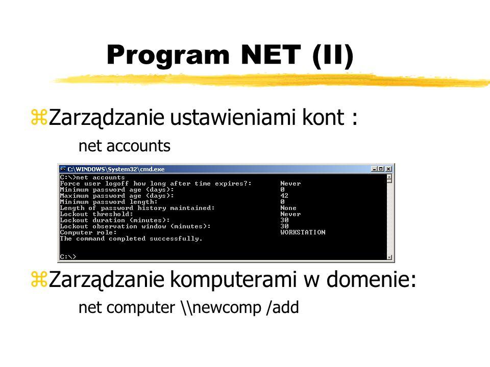 Program NET (II) Zarządzanie ustawieniami kont : net accounts
