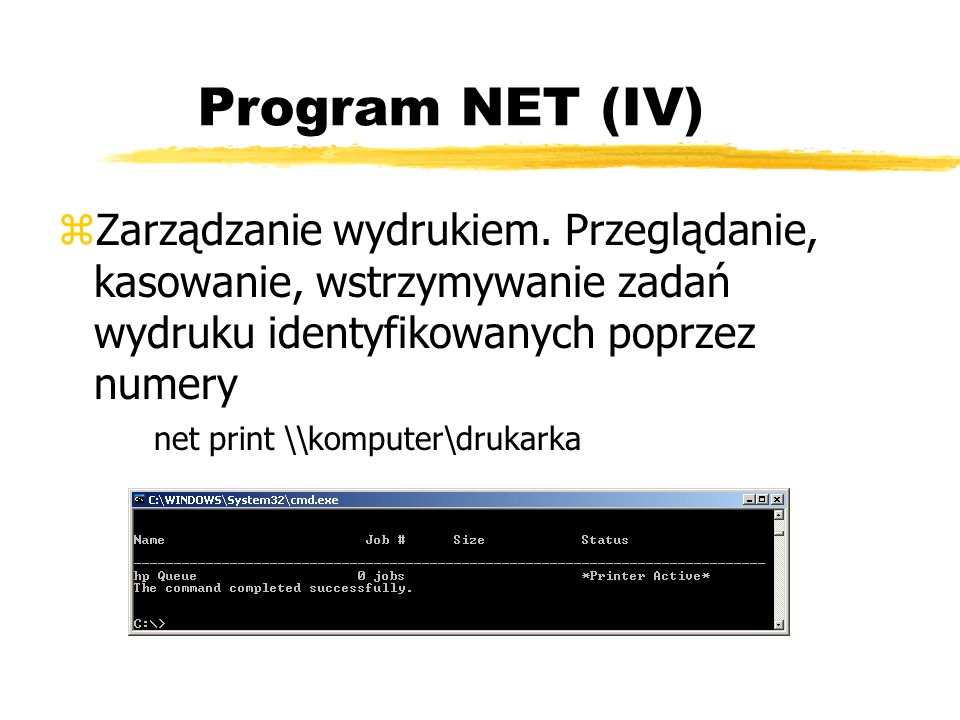Program NET (IV)