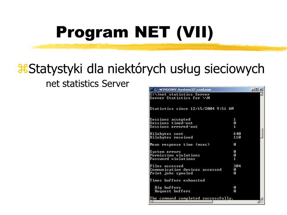 Program NET (VII) Statystyki dla niektórych usług sieciowych net statistics Server