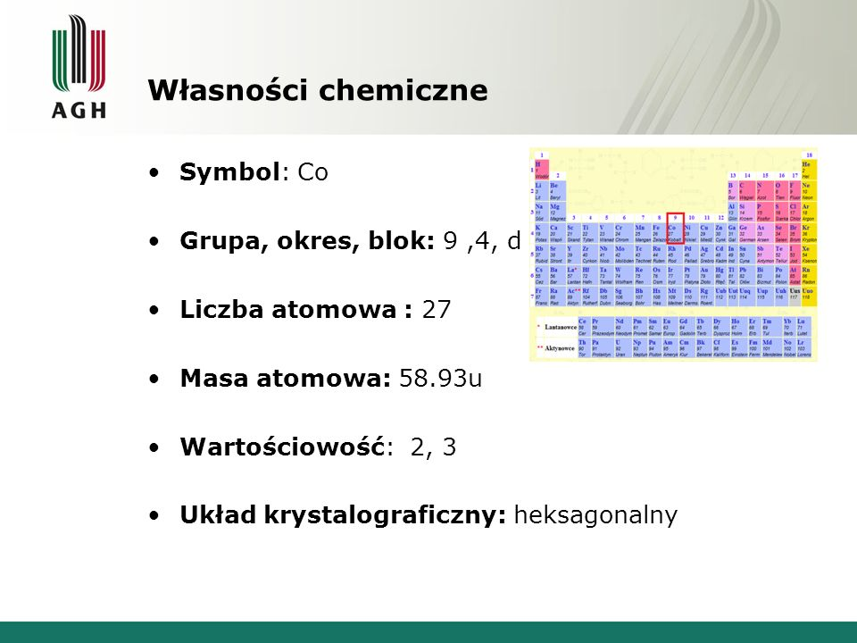 Własności chemiczne Symbol: Co Grupa, okres, blok: 9 ,4, d
