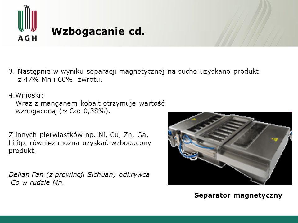 Wzbogacanie cd. 3. Następnie w wyniku separacji magnetycznej na sucho uzyskano produkt. z 47% Mn i 60% zwrotu.