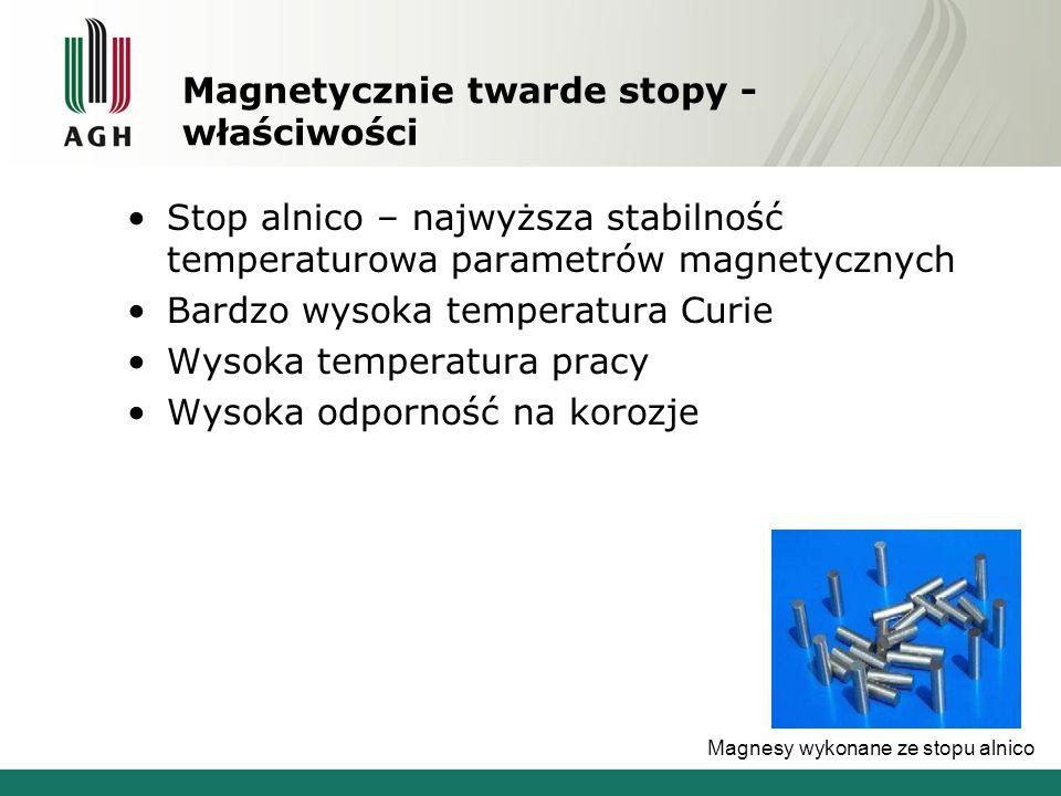 Magnetycznie twarde stopy - właściwości