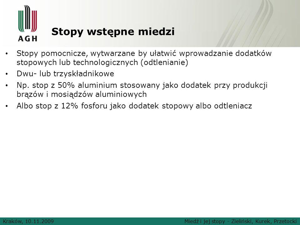 Stopy wstępne miedziStopy pomocnicze, wytwarzane by ułatwić wprowadzanie dodatków stopowych lub technologicznych (odtlenianie)